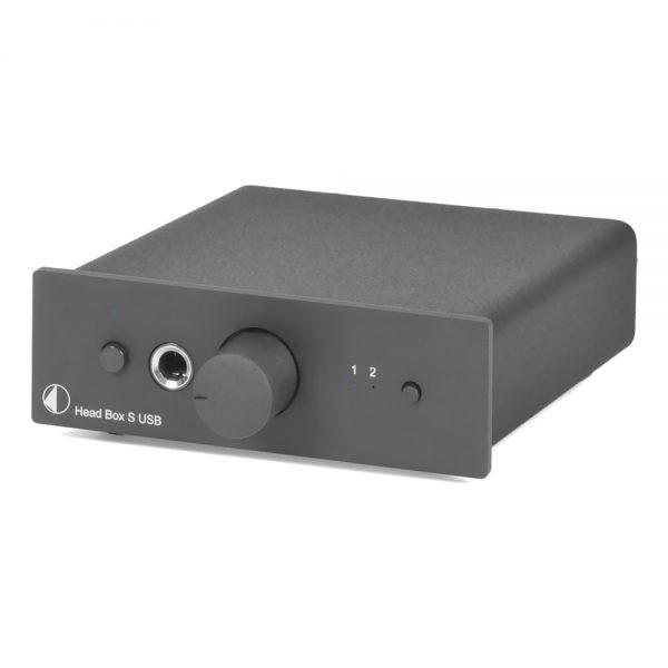 Pro-Ject Head Box S USB Headphone Pre-Amplifier (Black) - Front