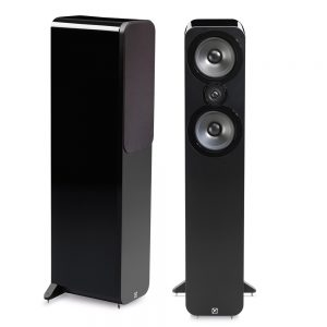 Q Acoustics 3050 Bookshelf Speakers (Black Gloss) - Angled