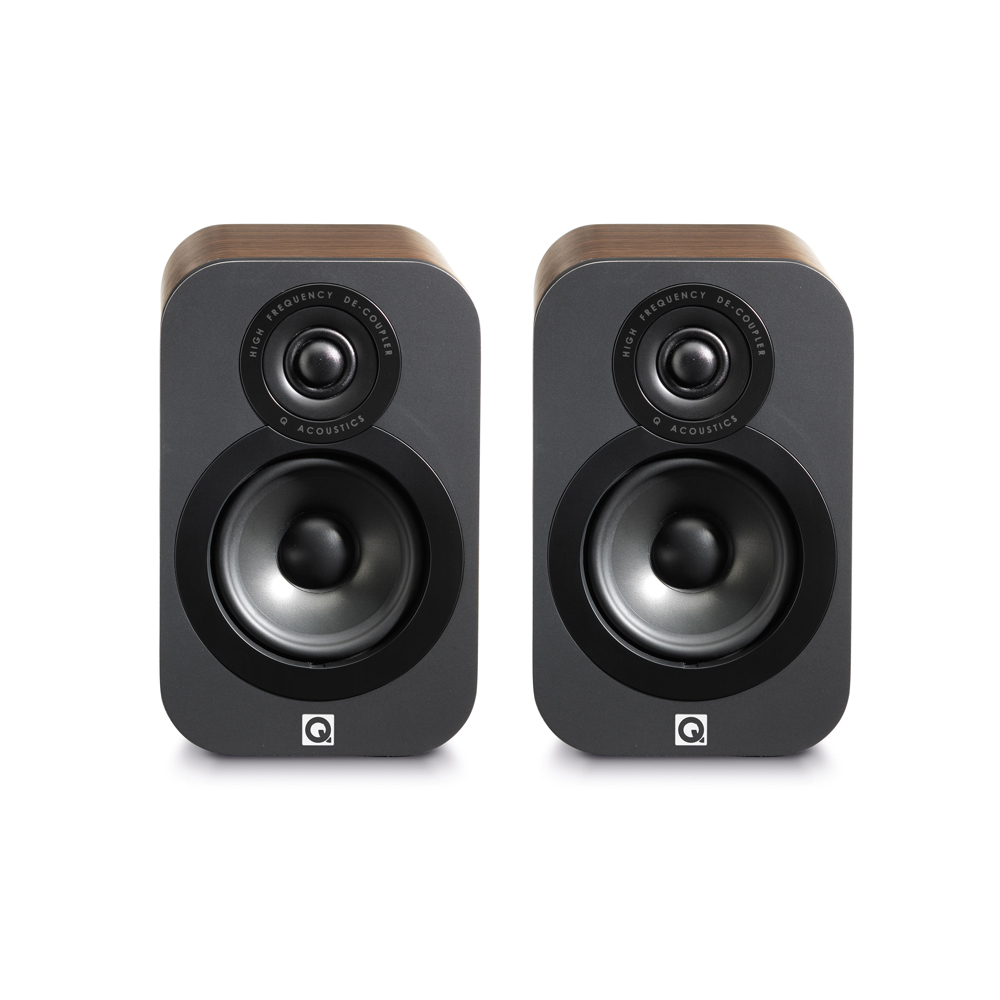 Q Acoustics 3010 Bookshelf Speakers (Walnut) - Front