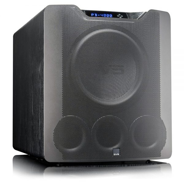 SVS PB-4000 (Black Ash) - Angled With Grille