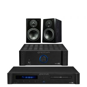 Emotiva A100 & CD100 & SVS Prime Bookshelf (Black Ash) Package