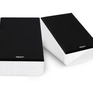 Elipson Prestige Facet 6 Atmos (White) - Angled With Grilles